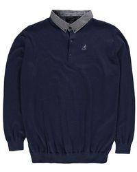 Kangol Malax Knit Polo Men's Polo Shirt In Blue