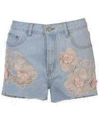 Glamorous Embroidered Denim Shorts - Blue