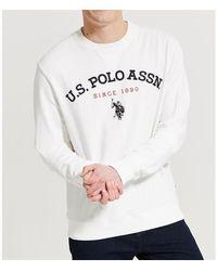U.S. POLO ASSN. Applique Crew Sweatshirt - White