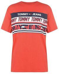 Tommy Hilfiger - Stripe Logo T Shirt - Lyst