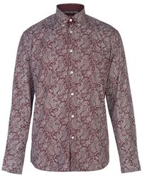 Pierre Cardin - Long Sleeve Printed Shirt Mens - Red - Lyst