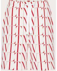 Valentino Bermudas De Algodón Con Estampado Vltn Times - Rojo