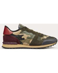 Valentino - Garavani Rockrunner Suede, Leather And Canvas Sneakers - Lyst