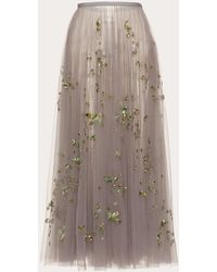 Valentino Embroidered Tulle Skirt - Blue