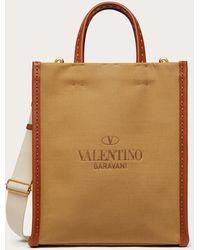 Valentino Garavani Bolso Shopper Identity De Lona - Marrón