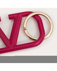 Valentino Garavani Schlüsselanhänger Vlogo Signature Aus Lackiertem Metall - Pink