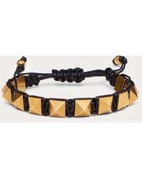 Valentino Garavani Armband Rockstud Aus Gewachster Baumwolle Und Metall - Schwarz