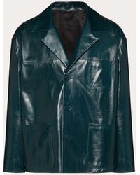Valentino Glossy Leather Pea Coat - Blue