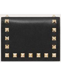 Valentino Garavani Compact Rockstud Calfskin Wallet - Black