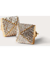 Valentino Garavani Valentino Garavani Rockstud Metal And Swarovski® Crystal Earrings - Metallic