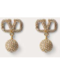 Valentino Garavani Valentino Garavani Vlogo Signature Earrings In Metal And Swarovski® Crystals - Metallic