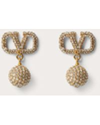 Valentino Garavani Vlogo Signature Earrings In Metal And Swarovski® Crystals - Metallic