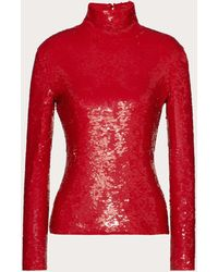 Valentino - Embroidered Stretch Tulle Top - Lyst
