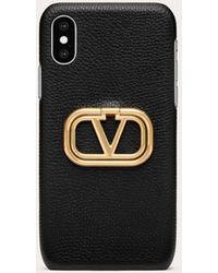 Valentino Garavani Valentino Garavani Vlogo Grainy Calfskin Phone Cover For Iphone Xs - Black