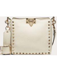 Valentino Garavani Mini Grain Calfskin Leather Hobo Rockstud Bag - White