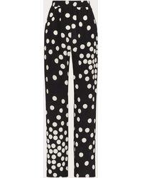 Valentino Pantalon Imprimé En Crêpe De Chine - Noir