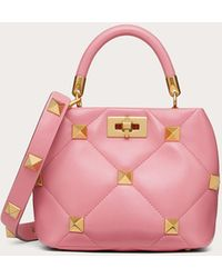 Valentino Garavani Kleine Handtasche Roman Stud The Handle Bag Aus Nappaleder - Pink