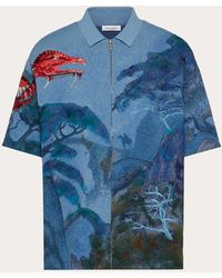 Valentino Dragons Garden Viscose Polo Shirt - Blue
