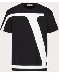 Valentino Valentino Vロゴ シグネチャー コットン Tシャツ - ブラック