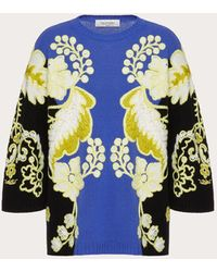 Valentino Embroidered Cashmere Wool Jumper - Blue