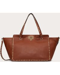 Valentino Garavani Medium Rockstud Grainy Calfskin Bag - Brown