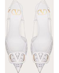 Valentino Garavani Valentino garavani zapatos de salón destalonados vlogo signature de piel de becerro con bordado san gallo y tacón de 80 mm - Blanco