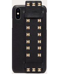Valentino Garavani Rockstud Calfskin Phone Cover For Iphone Xs Max - Black