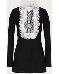Valentino Embroidered Crepe Couture Dress - Black