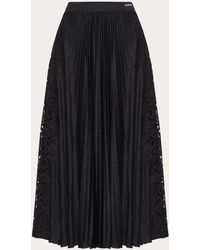 Valentino Pleated Lace Detailed Skirt - Black