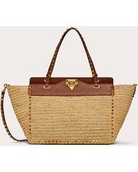 Valentino Garavani Medium Rockstud Bag In Crochet Raffia - Brown