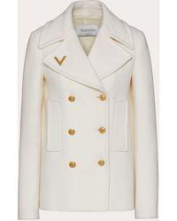 Valentino Caban aus drill drap mit goldfarbenem v-detail - Weiß