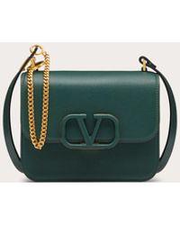 Valentino Garavani Vsling Micro Shoulder Bag In Shiny Calfskin - Green