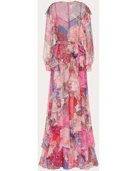 Valentino Printed Chiffon Evening Dress - Pink