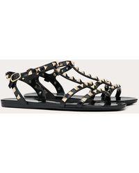 Valentino Garavani Rockstud Flat Rubber Sandal - Black