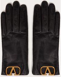 Valentino Garavani Vlogo Cashmere-lined Leather Gloves - Black