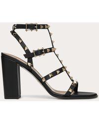 Valentino Rockstud Studded Leather Sandals - Black