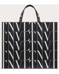 Valentino Bolso Shopper Vltn Times De Piel - Negro