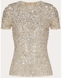 Valentino Embellished Stretch Tulle Top - Metallic