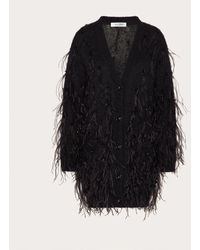 Valentino Bestickter cardigan aus mohairwolle und polyamid - Schwarz