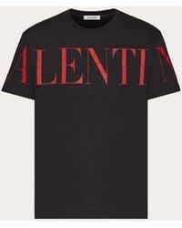 Valentino Camiseta De Algodón Jersey Estampada - Negro