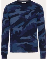 Valentino Camouflage Crew-neck Sweater - Blue