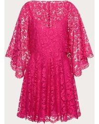 Valentino Kaftan Dress In Heavy Lace - Pink