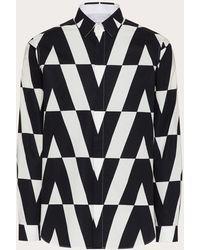 Valentino Chemise En Popeline De Coton Avec Imprimé Macro Optical - Noir