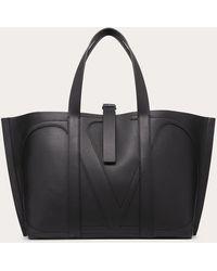Valentino Bolso shopper con logo Garavani - Negro