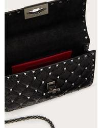 Valentino Garavani Small Crinkled Lambskin Rockstud Spike Bag - Black