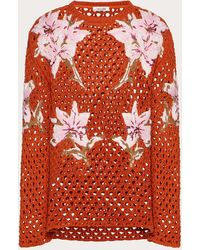 Valentino Crochet Crew-neck Jumper With Embroidered Flowers - Orange