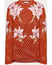 Valentino Jersey De Cuello Redondo De Croché Con Flores Bordadas - Naranja