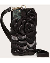 Valentino Garavani Cover I-phone 12 Pro Max Atelier Slg 03 Rose Edition - Nero