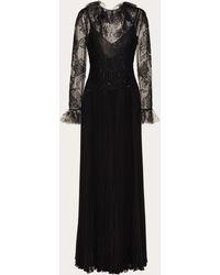Valentino Vestido De Noche De Romantic Lace - Negro