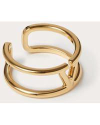 Valentino Garavani Vlogo Signature Metal Ring Man Gold Brass 100% 19 - Metallic
